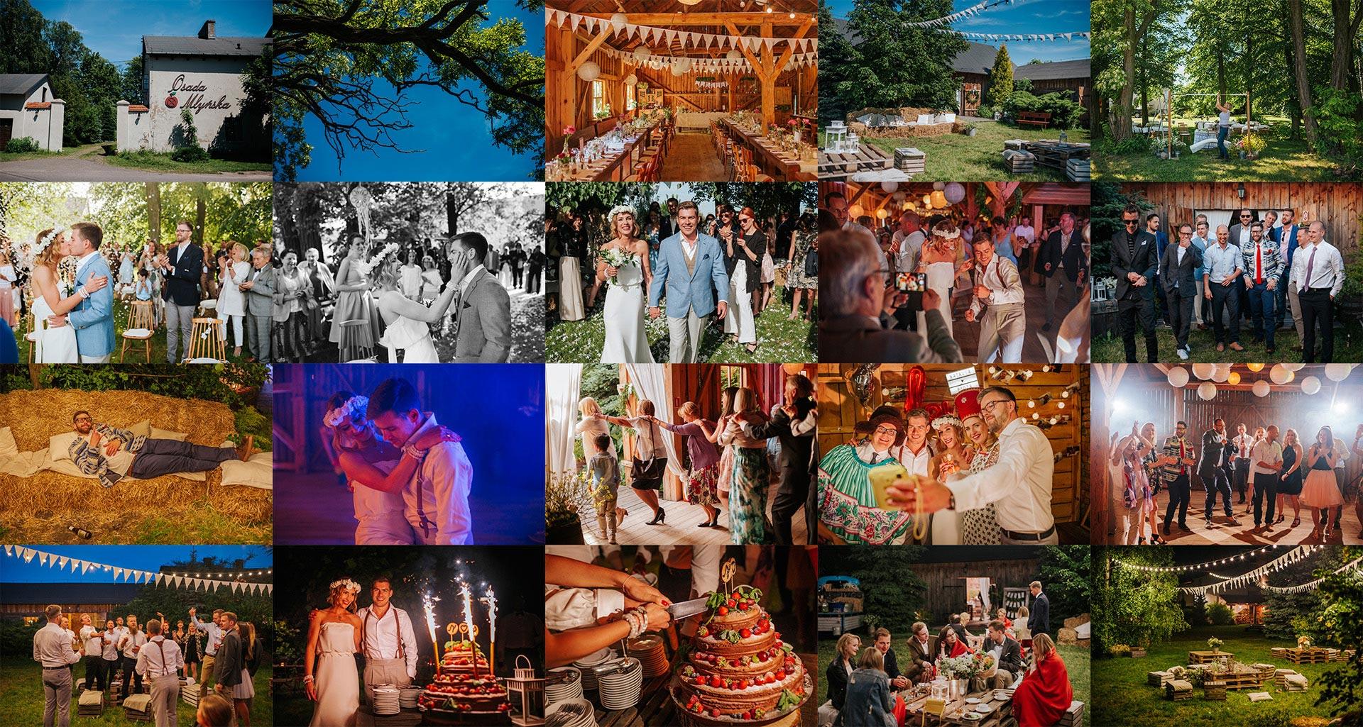 Kompilacja zdjęćślubnych ze ślubu i wesela w Osadzie Młyńskiej pod Warszawą